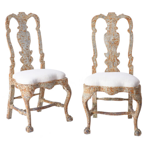 7-8170 A Pair of Swedish Rococo Period Chairs with Original Paint C. 1760