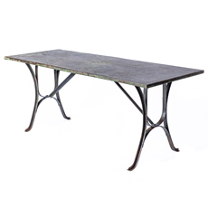 7-8182 An Early 20th Century French Iron Industrial 7-8182 Table with Remnants of Original Green Paint