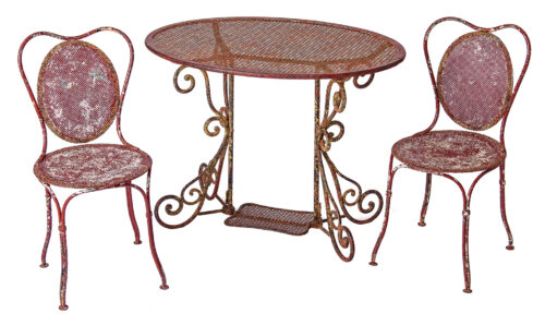 7-8185 A French Oval Wrought Iron Table C.1870 and Two Chairs in Original Maroon Paint