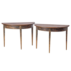 A Pair of Dry Scraped Swedish Demi-lune Tables with Black Paint C 1900