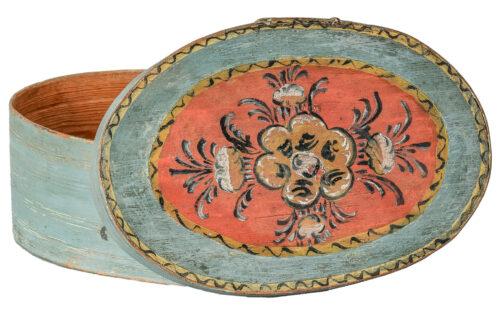 "A Swedish ""Svepask"" Box in Original Blue Paint with Kurbits Flower C. 1850"